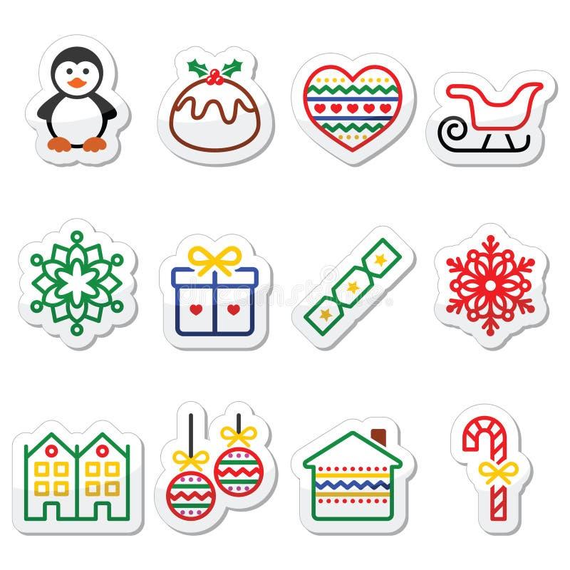 Kerstmis, de winterpictogrammen met slag - pinguïn, Kerstmispudding stock illustratie