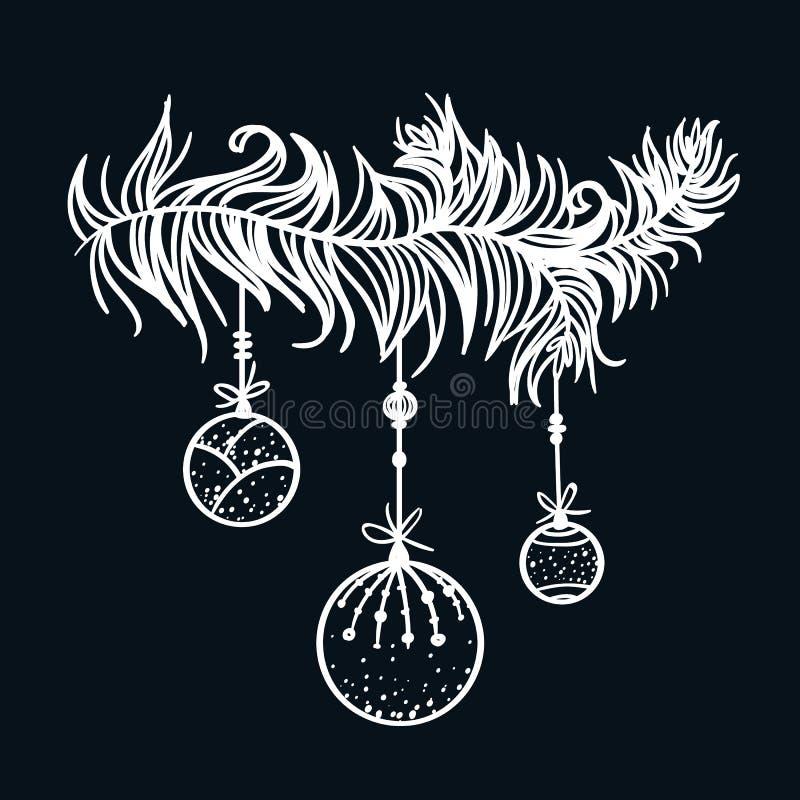Kerstmis decoratief element Hand getrokken tak met vakantieballen vector illustratie