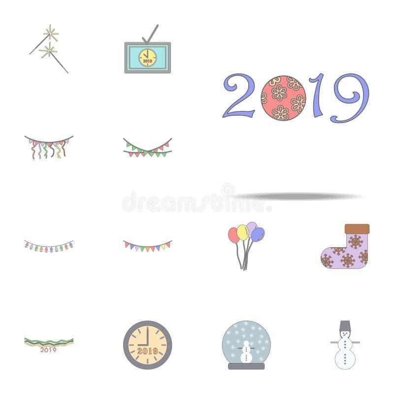 2019 Kerstmis decoratief woord gekleurd pictogram Voor Web wordt geplaatst dat en mobiel de pictogrammenalgemeen begrip van de Ke royalty-vrije illustratie