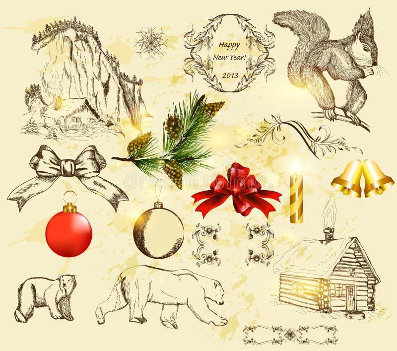 Kerstmis die met hand getrokken voorwerpen wordt geplaatst stock illustratie