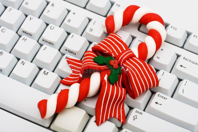 Kerstmis die online winkelt stock fotografie