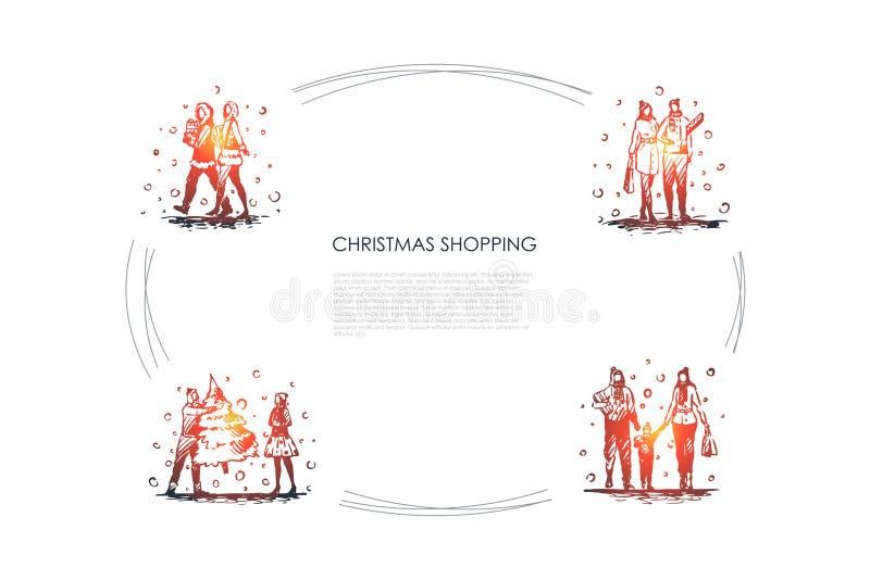 Kerstmis die winkelen - de mensen die met Kerstmis lopen stellen, nieuwe jaarboom en reeks van het zakken de vectorconcept voor stock illustratie