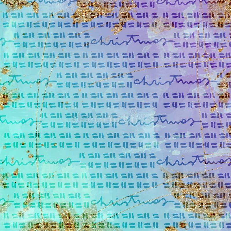 Kerstmis Digitaal Document - schitter en Waterverf vector illustratie