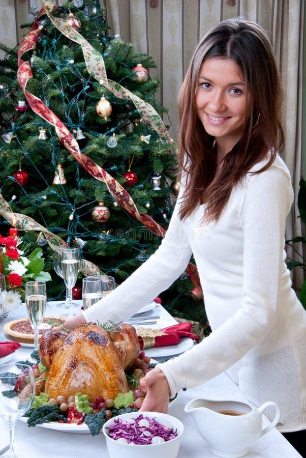 Kerstmis diner Geroosterd Turkije van de familie stock afbeelding
