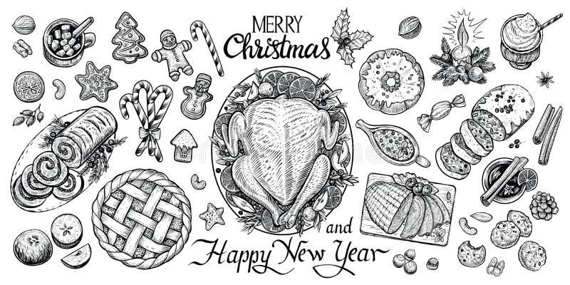 Kerstmis dinning lijst, vectorillustratie Wintertijdvoedsel en dranken hoogste mening stock illustratie