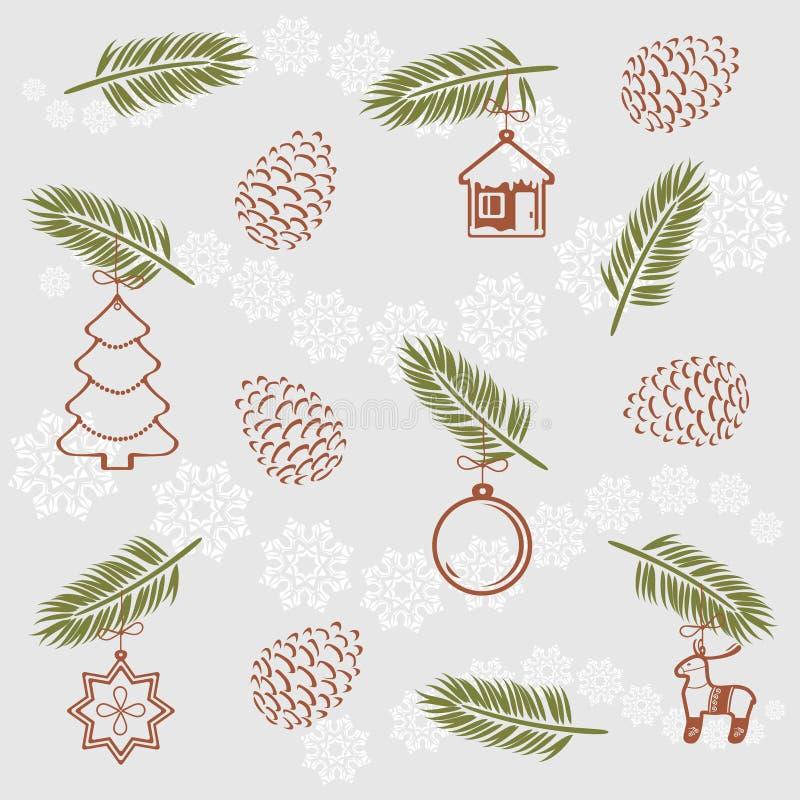Kerstmis dirkt takje met speelgoed op Uitstekend patroon voor het verpakken stock illustratie
