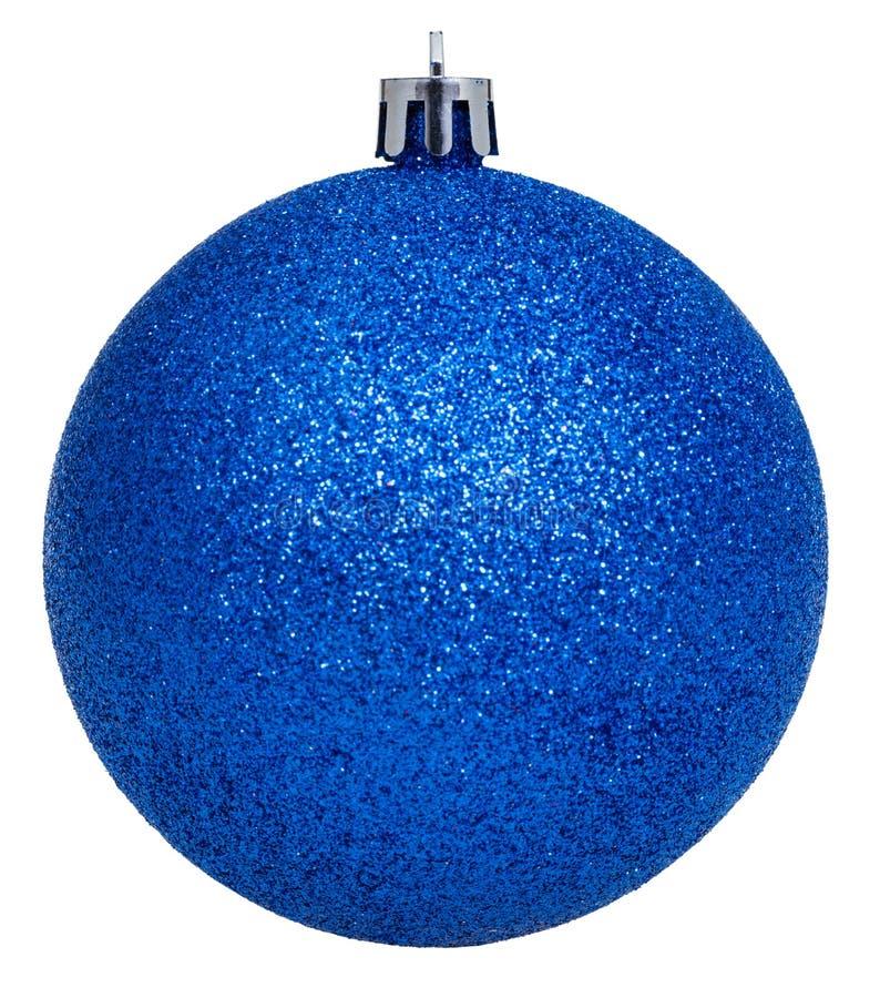 Kerstmis Donkerblauwe Die Bal Op Wit Wordt Geïsoleerd Stock Foto