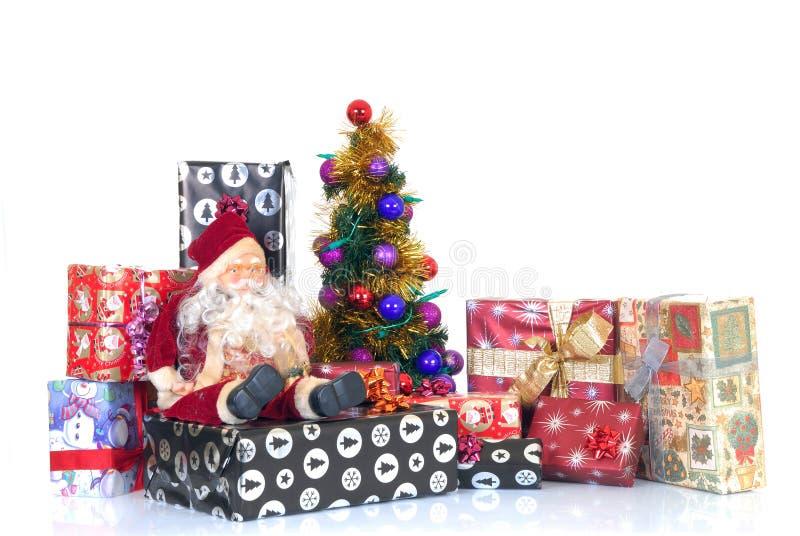 Kerstmis Drie en stelt voor royalty-vrije stock foto's