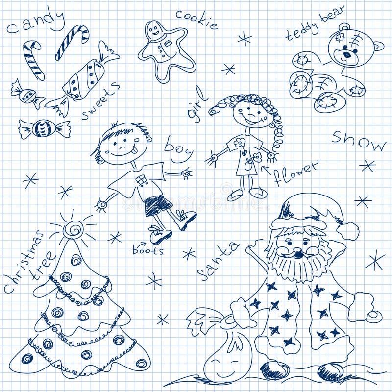 Kerstmis eenvoudige tekening vector illustratie