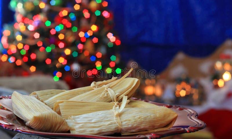 Kerstmis eigengemaakte tamales stock afbeelding
