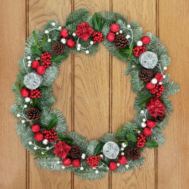 Kerstmis en Advent Wreath royalty-vrije stock afbeeldingen