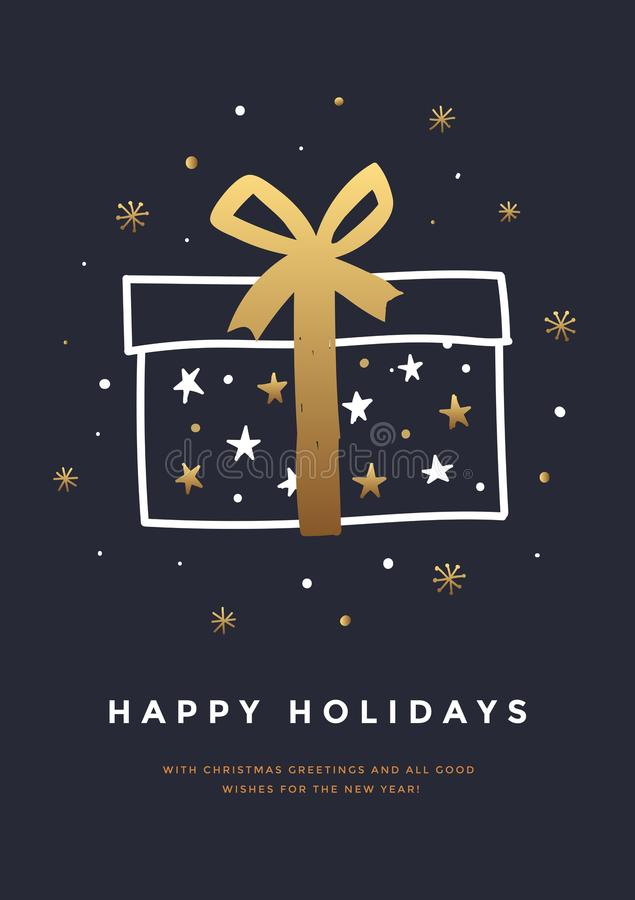 Kerstmis en de Gelukkige kaart van de Nieuwjaargroet met decoratieve elementenvakantie Hand-drawn giftdoos met Gouden lint en ste royalty-vrije illustratie