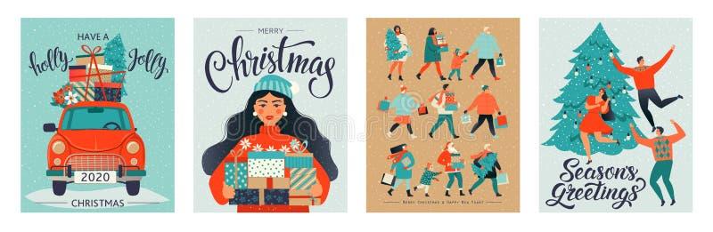 Kerstmis en de Gelukkige malplaatjes van de Nieuwjaar retro stijl royalty-vrije illustratie