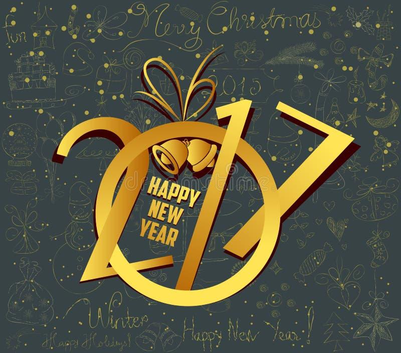 Kerstmis en de gelukkige nieuwe achtergrond van het de lijnpictogram van de jaar 2017 krabbel stock illustratie