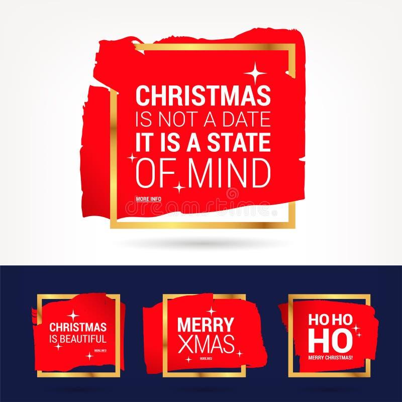 Kerstmis en de gelukkige nieuwe citaten geplaatste van de jaarviering stock illustratie