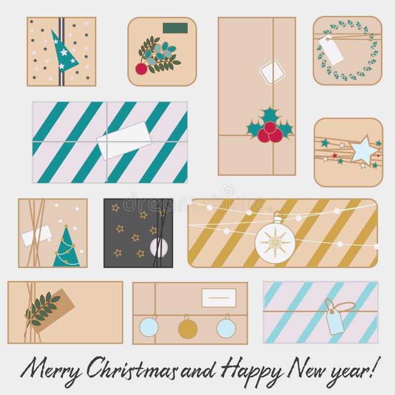 Kerstmis en de nieuwe dozen van de Jaargift Seizoengebonden de winter stelt reeks voor Vectorlijnpictogrammen vector illustratie