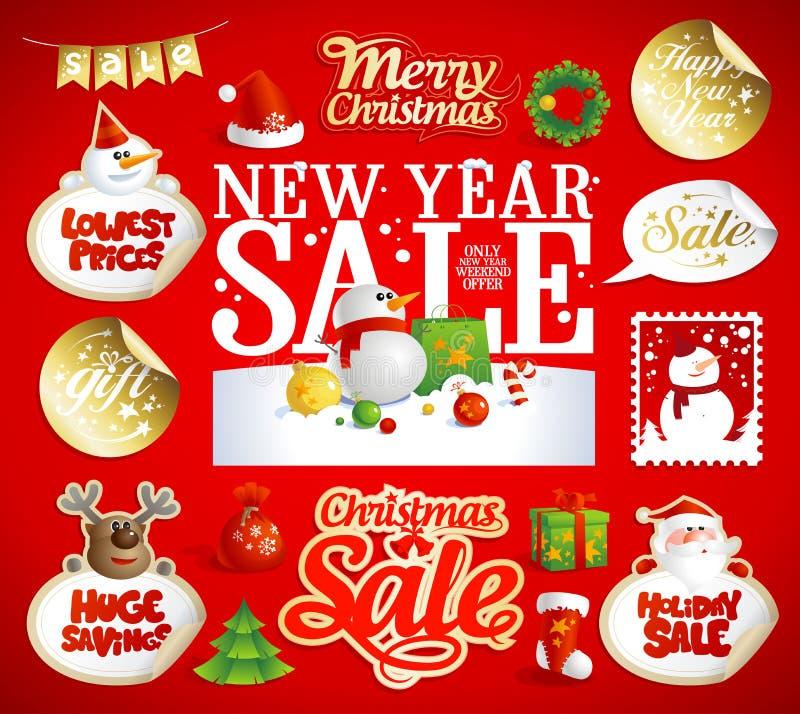 Kerstmis en de Nieuwe ontwerpen van de jaarverkoop, banners vector illustratie