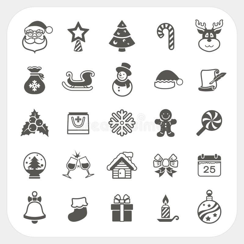 Kerstmis en de Winter geplaatste pictogrammen vector illustratie
