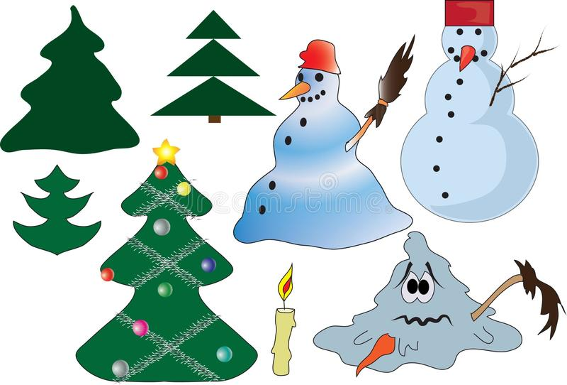 Kerstmis en de winterelementen stock afbeeldingen
