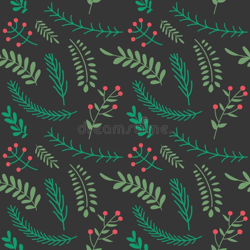 Kerstmis en gelukkig nieuw jaar naadloos patroon met bladerendecorum royalty-vrije illustratie