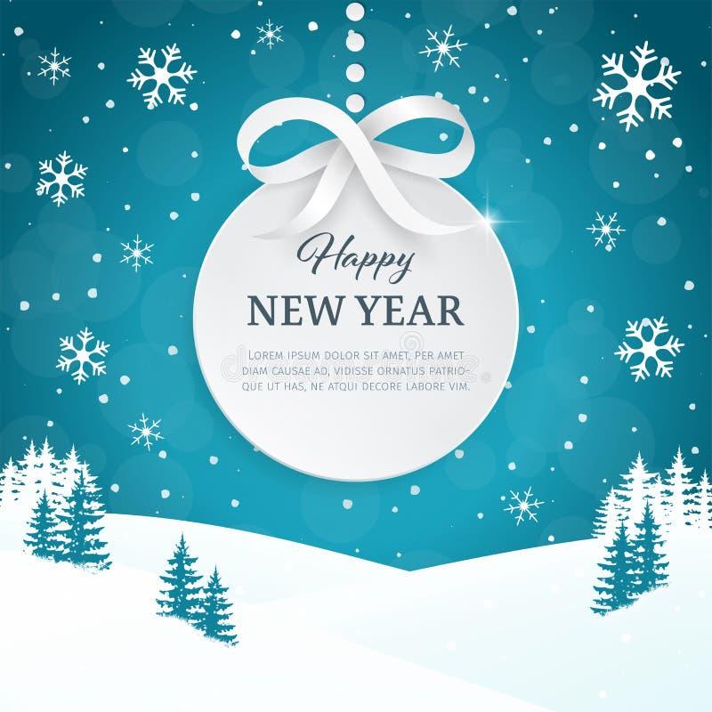 2018 Kerstmis en Gelukkige de kaartachtergrond van de Nieuwjaargroet met sneeuwvlokken Het landschapsachtergrond van de de winter royalty-vrije illustratie