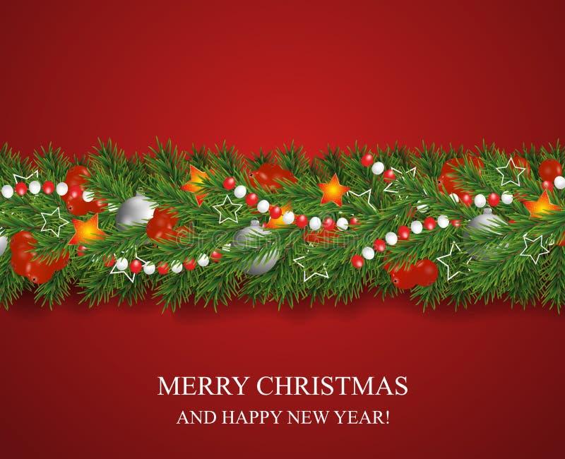 Kerstmis en gelukkige die Nieuwjaarslinger en grens van Kerstboomtakken met hulstbessen en zilveren snuisterijen, sterren worden  stock illustratie