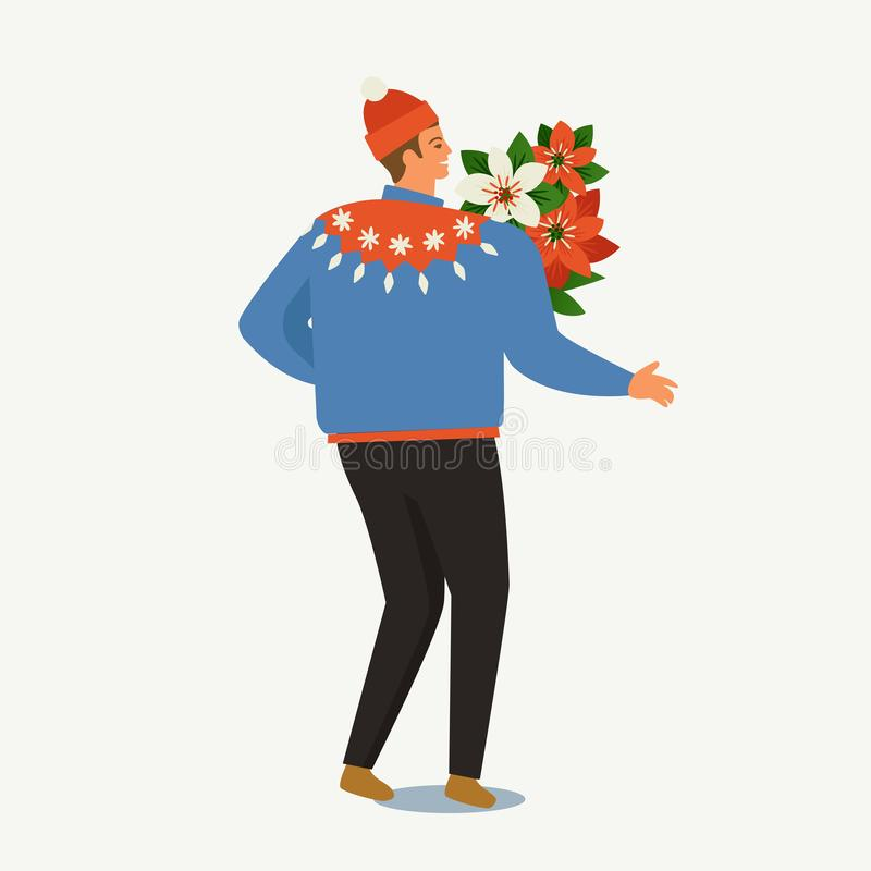 Kerstmis en Gelukkige Nieuwjaarmalplaatjes In retro stijl vector illustratie