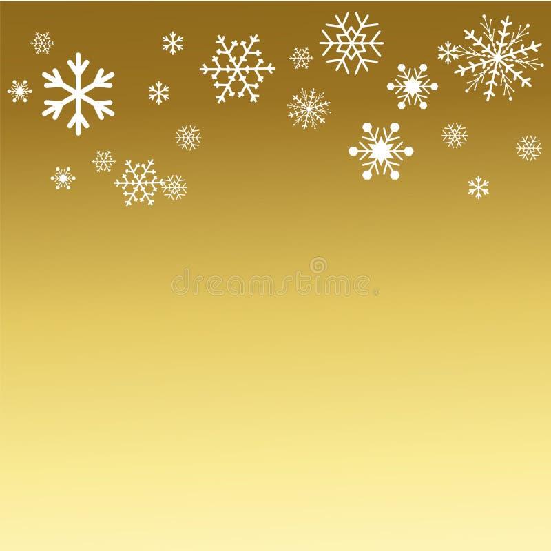 Kerstmis en Gelukkige Nieuwjaren als achtergrond gouden met snowflakessnowflakes Vector illustratie stock illustratie
