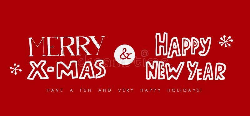 Kerstmis en het Nieuwe jaar van letters voorzien op rood royalty-vrije illustratie