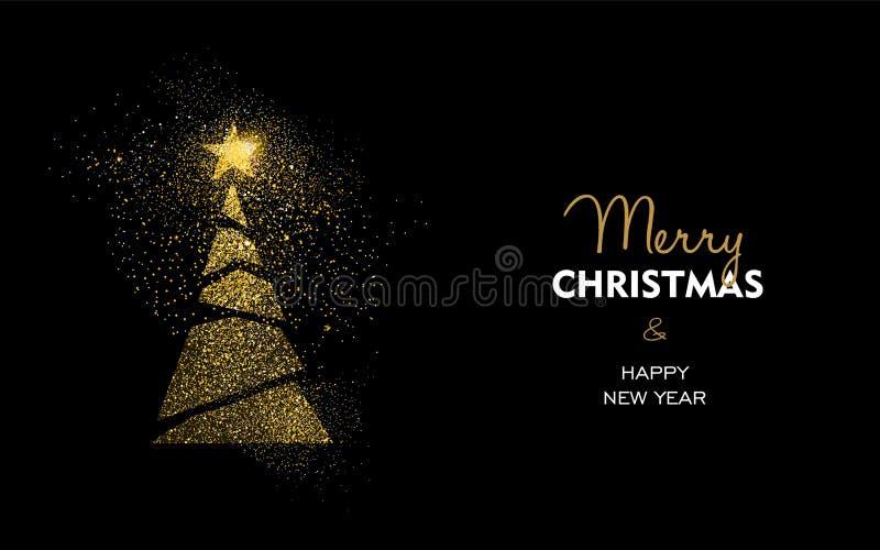 Kerstmis en het nieuwe jaargoud schitteren de kaart van de pijnboomboom royalty-vrije illustratie