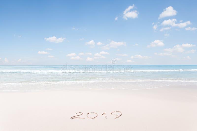 Kerstmis en het nieuwe tropische strand van het jaarthema royalty-vrije stock fotografie