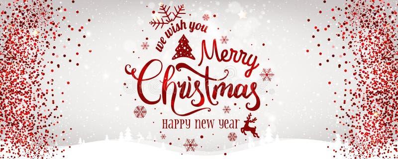Kerstmis en het Nieuwjaar typografisch op witte achtergrond met Goud schitteren textuur royalty-vrije illustratie