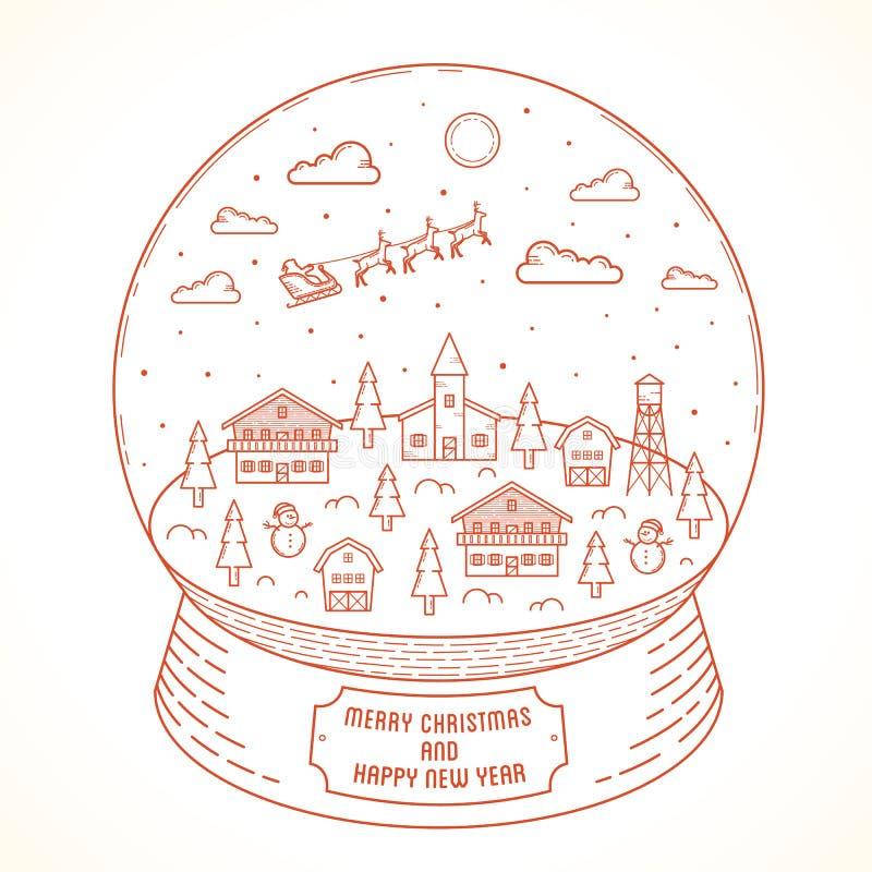 Kerstmis en het Nieuwjaar Vectorsneeuwbal van de lijnstijl stock illustratie