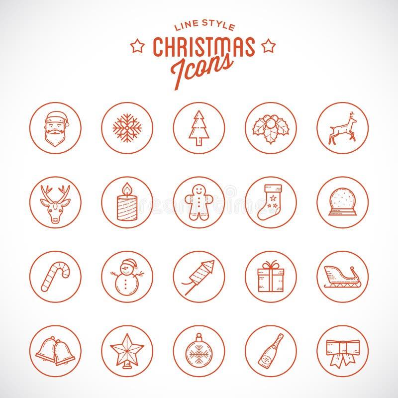 Kerstmis en het Nieuwjaarpictogram van de lijnstijl wordt geplaatst die met vector illustratie