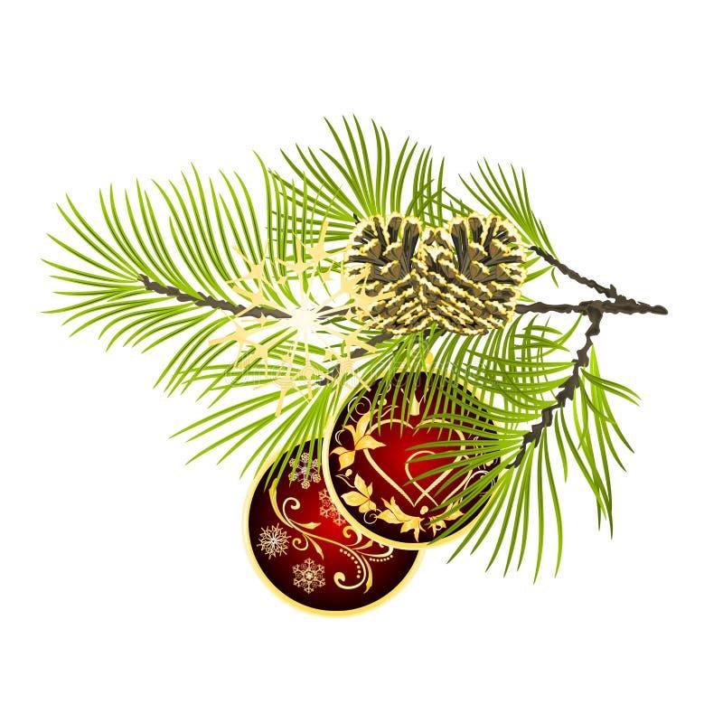 Kerstmis en Kerstmisornamenten gouden bladeren zich en de spar van de Nieuwjaardecoratie vertakken de rode met denneappels en gou royalty-vrije illustratie