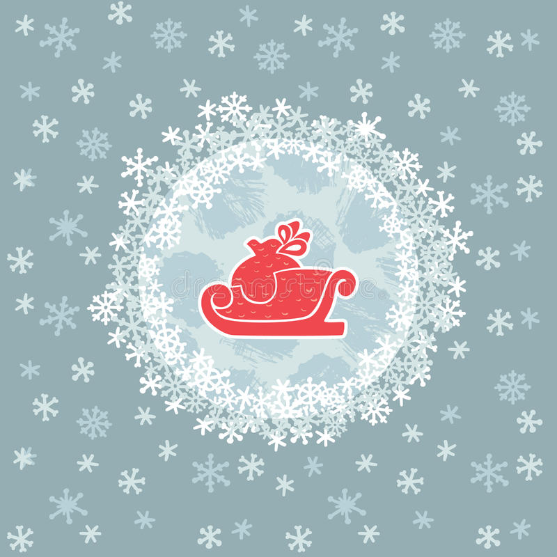 Kerstmis en Nieuw het hele jaar door kader met sleesymbool De kaart van de groet royalty-vrije illustratie