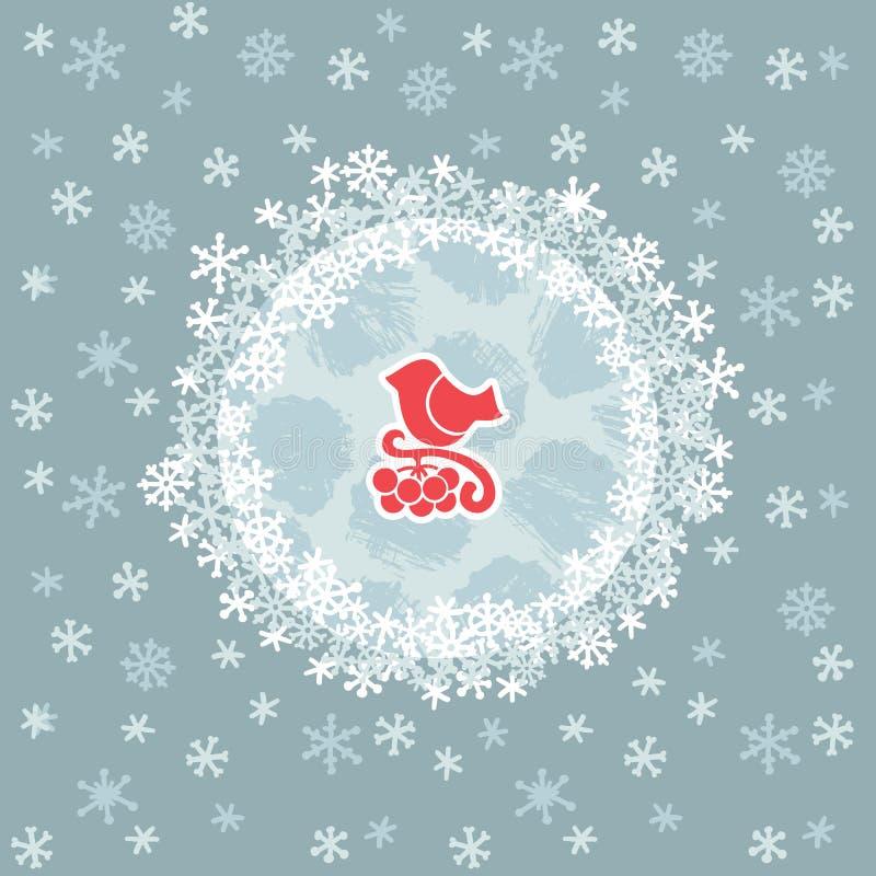 Kerstmis en Nieuw het hele jaar door kader met vogel op taksymbool De kaart van de groet royalty-vrije illustratie