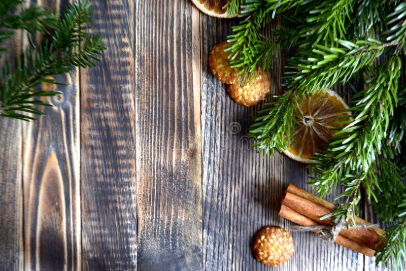 Kerstmis en nieuw jaar achtergrondkader of prentbriefkaar stock foto