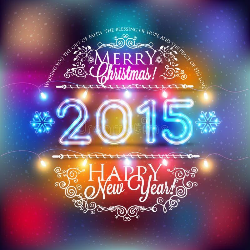 Kerstmis en Nieuw jaaretiket met gekleurde lichten op achtergronden vector illustratie