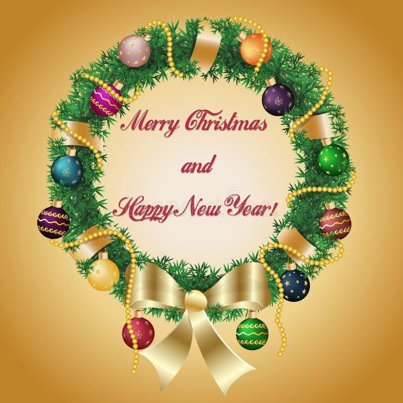Kerstmis en nieuw jaarkroon gevlecht lint met bogenkerstmis royalty-vrije illustratie