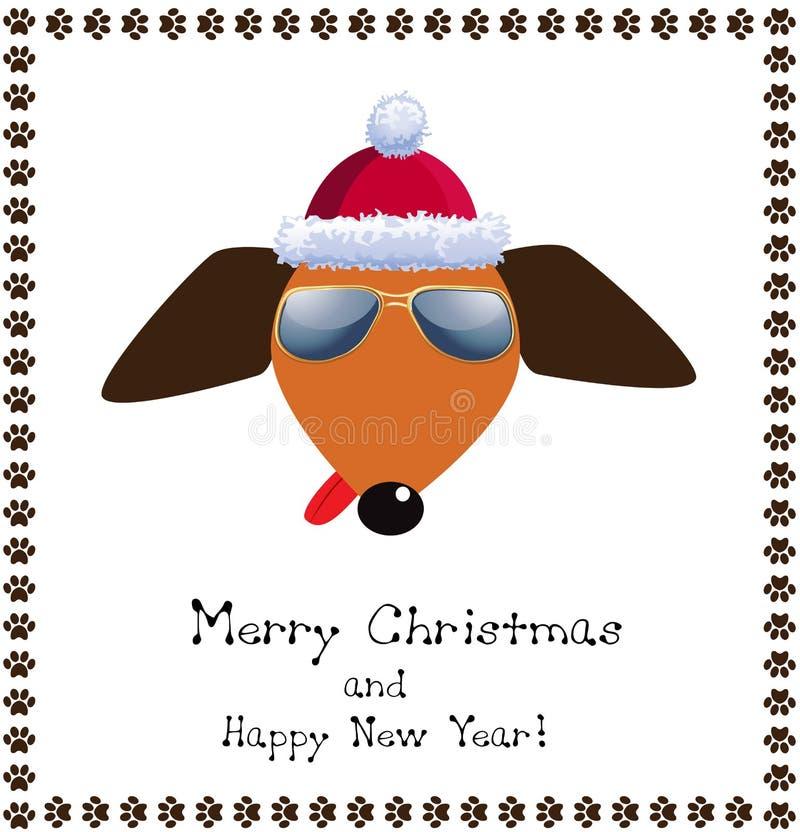 Kerstmis en nieuwe de kaarthond van de jaargroet gekleed in rode santa ` s stock illustratie