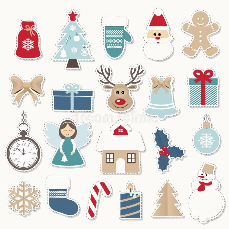 Kerstmis en nieuwe geplaatste jaar feestelijke stickers Gouden en blauwe kleuren Santa Claus, engel, herten, huis, sneeuwman vector illustratie