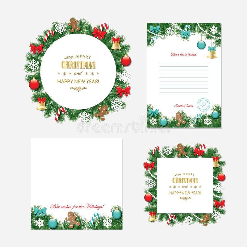 Kerstmis en Nieuwe jaarmalplaatjes stock illustratie