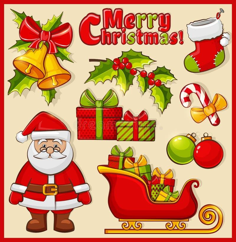 Kerstmis en nieuwe jaarpictogrammen Vectordecoratiereeks stock illustratie