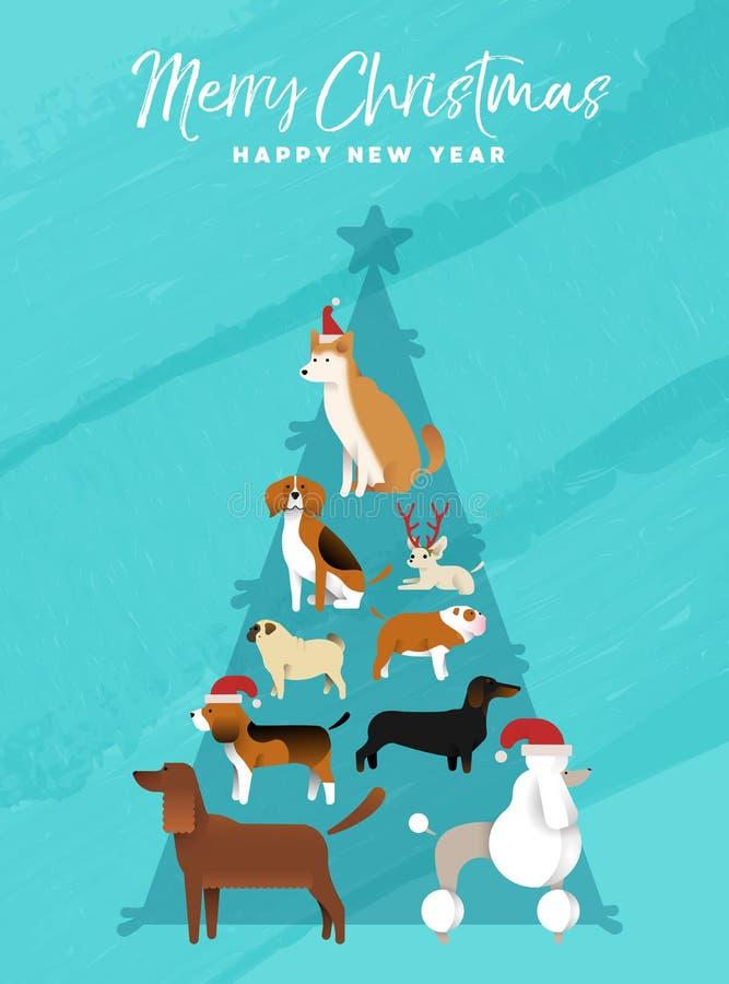 Kerstmis en nieuwe van de de boomhond van de jaarpijnboom de groetkaart stock illustratie