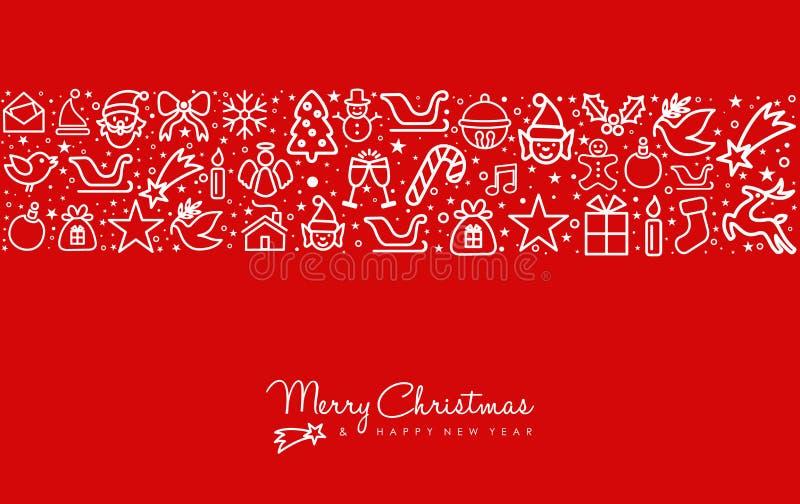 Kerstmis en nieuwe van het de kunstpictogram van de jaarlijn de groetkaart royalty-vrije illustratie