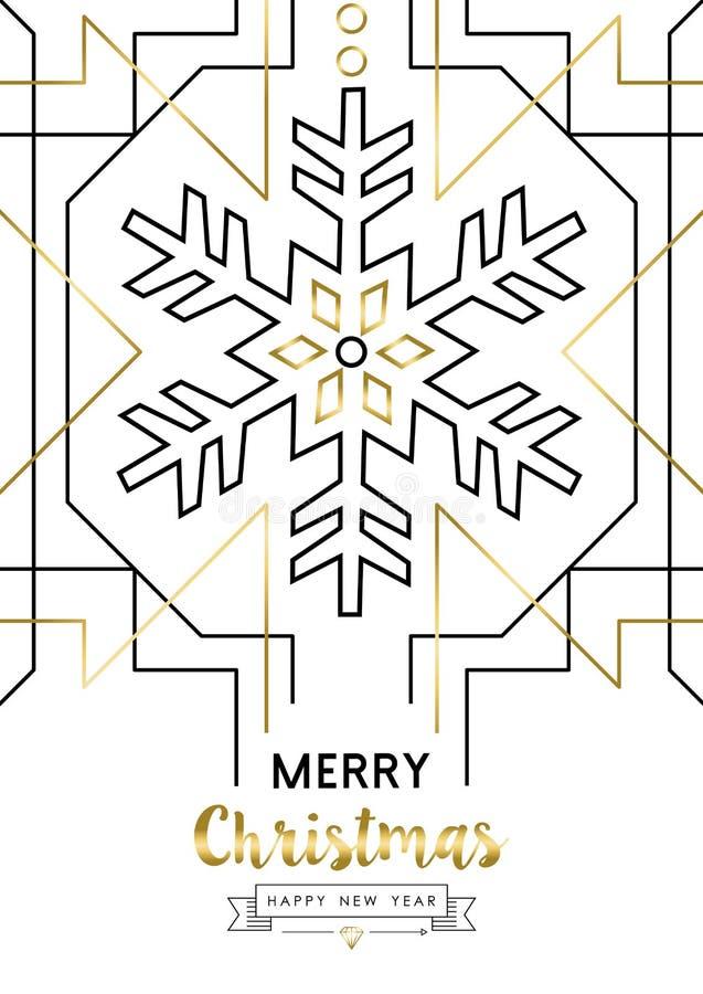 Kerstmis en Nieuwjaar abstracte gouden lijnsneeuw stock illustratie