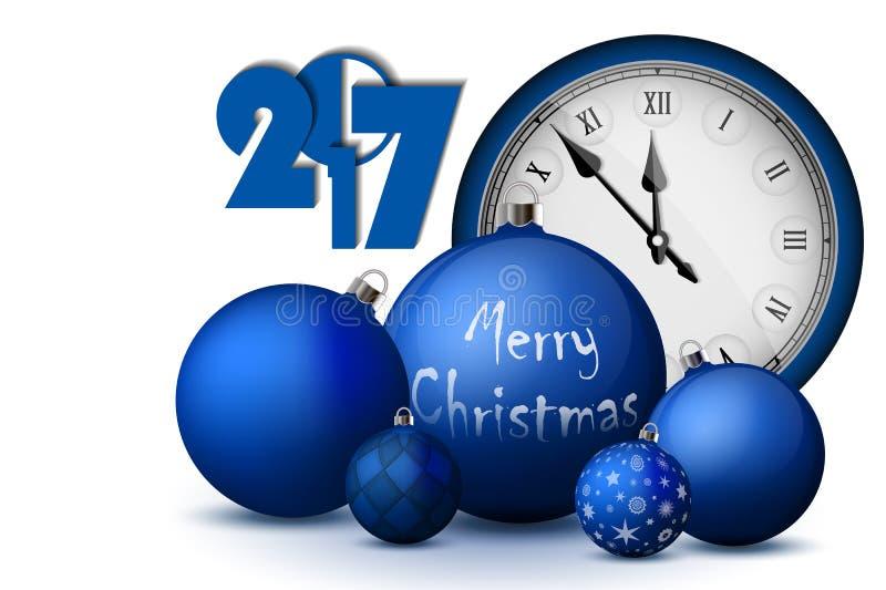 Kerstmis en Nieuwjaar 2017 concept Blauwe Kerstmisballen met zilveren houders en uitstekend horloge royalty-vrije illustratie