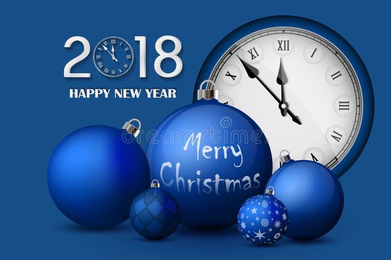 Kerstmis en Nieuwjaar 2018 concept Blauwe Kerstmisballen met zilveren houders en uitstekend horloge vector illustratie