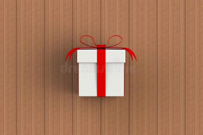 Kerstmis en Nieuwjaar Dag, rode witte cadeaudoos geïsoleerd op houten plank stock illustratie